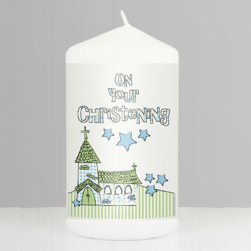 Blue Christening Church Candle Gift Idea For Babys Christening Keepsake